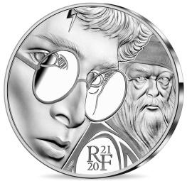 Harry Potter et Dumbledore, monnaie argent face