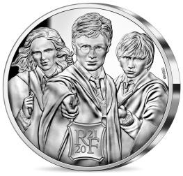 Harry Potter avec Ron et Hermione, monnaie argent face