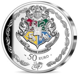 Harry Potter avec Ron et Hermione, monnaie argent revers